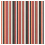 [ Thumbnail: Coral, Brown, Bisque & Black Pattern Fabric ]
