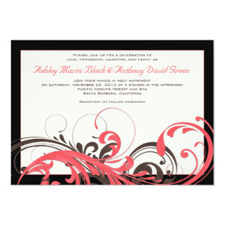 Coral, Brown, Black Floral Wedding Invitation
