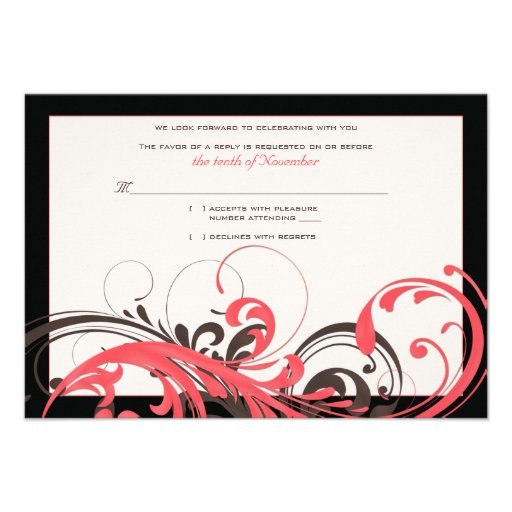 Coral Brown Black Floral Wedding Reply Card