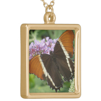 Coral Brown Butterfly Gold Plated Necklace