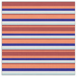 [ Thumbnail: Coral, Brown, Powder Blue, White & Blue Colored Fabric ]