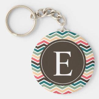 Coral Brown Teal Chevron Monogram Basic Round Button Keychain