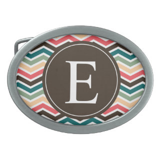 Coral Brown Teal Chevron Monogram Belt Buckle