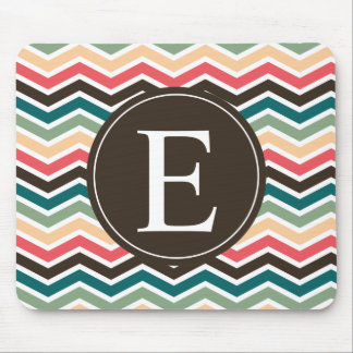 Coral Brown Teal Chevron Monogram Mouse Pads