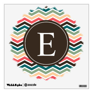 Coral Teal Wall Decals Wall Stickers Zazzle - Coral monogram wall decal