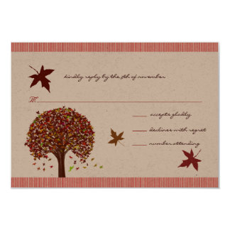 Coral Burgundy Red Lime Tree Wedding Invitation