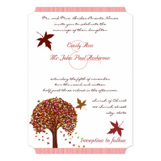 Coral Burgundy Red Pink Tree Wedding Invitation