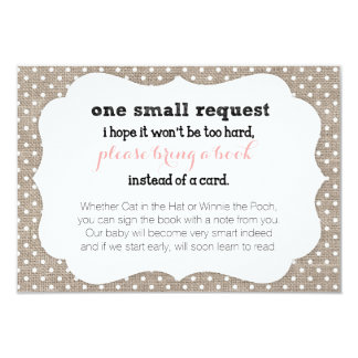 "Coral & Burlap Dots Baby Shower Book Request Card 3.5"" X 5"" Invitation Card"