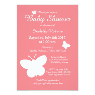 Coral butterfly baby shower invitations for girl