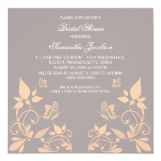Coral Butterfly Floral Bridal Shower Invite