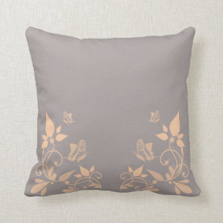 Coral Butterfly Floral Pillow