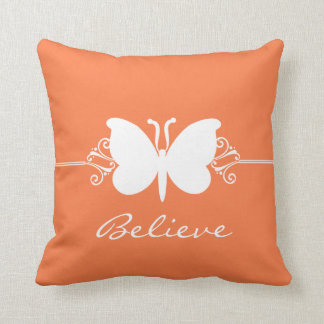 Coral Butterfly Swirls Pillow