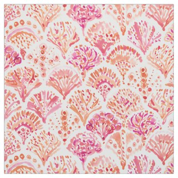 Beach Themed CORAL CAMO Fish Scale Mermaid Scallop Watercolor Fabric