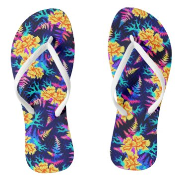 Beach Themed Coral Carnation - Blue/Yellow Flip Flops