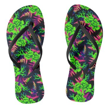 Beach Themed Coral Carnation - Green/Purple Flip Flops