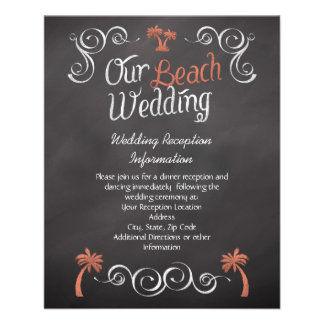 Coral Chalkboard Beach Wedding Reception Insert Flyer