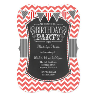 Coral Chalkboard Chevron Birthday Invite