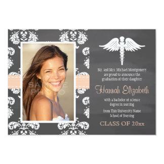 Coral Chalkboard Nursing School Graduation Custom Announcement