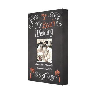 Coral Chalkboard Script Beach Wedding Canvas Print