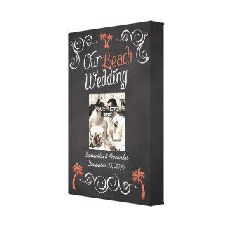 Coral Chalkboard Script Beach Wedding Canvas Print
