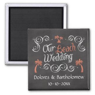 Coral Chalkboard Script Beach Wedding Magnet