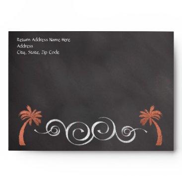 Beach Themed Coral Chalkboard Script Beach Wedding Outer Envelope