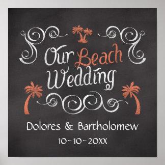 Coral Chalkboard Script Beach Wedding Poster