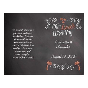 Beach Themed Coral Chalkboard Script Beach Wedding Program