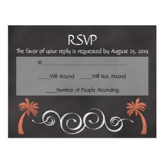 Coral Chalkboard Script Beach Wedding RSVP Reply Postcard