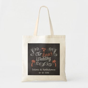 Beach Themed Coral Chalkboard Script Beach Wedding Tote Bag