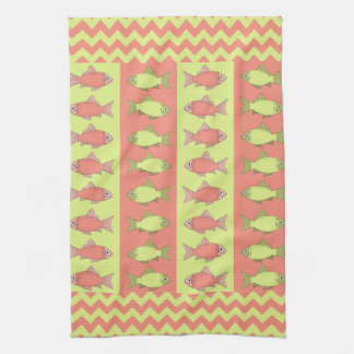Coral & Chartreuse Fish and Chevron Pattern Kitchen Towels
