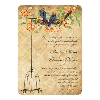 Coral Cherry Blossom Lattice Birdcage Wedding Card