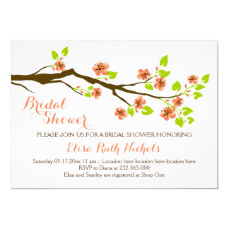 Coral cherry blossoms spring wedding bridal shower card