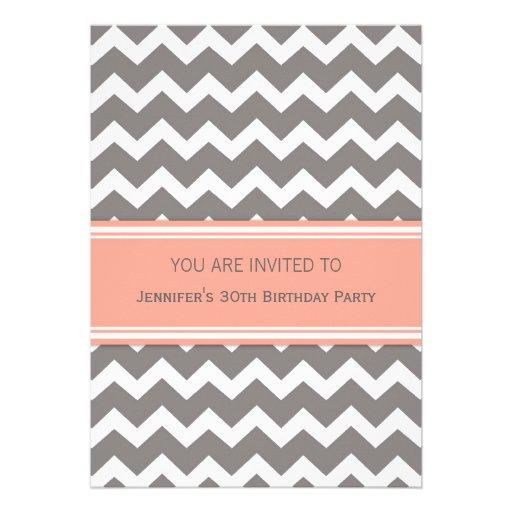 Coral Chevron 30th Birthday Party Invitations
