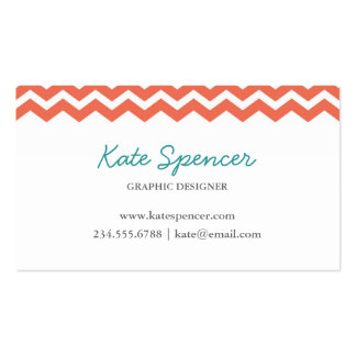 Coral Chevron and Polka Dot Business Cards