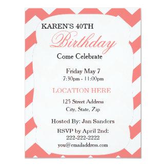 Coral Chevron Birthday Invitation