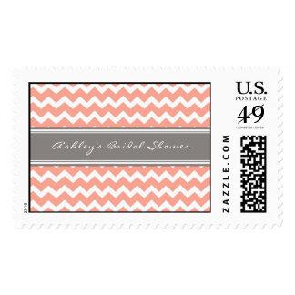 Coral Chevron Bridal Shower Wedding Stamps