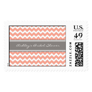 Coral Chevron Bridal Shower Wedding Stamps