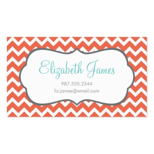 Coral Chevron Business Card Template