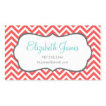 Coral Chevron Business Cards