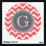 """Coral Chevron Grey Monogram Wall Sticker<br><div class=""""desc"""">A trendy,  modern,  geometric,  bold chevron pattern in pink coral and white with a slate grey lace inspired monogram template.</div>"""