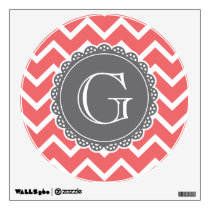 Coral Chevron Grey Monogram Wall Sticker