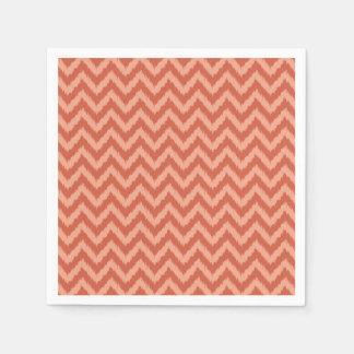 Coral Chevron Ikat Pattern Paper Napkin
