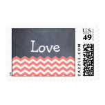 Coral Chevron love Wedding Stamps
