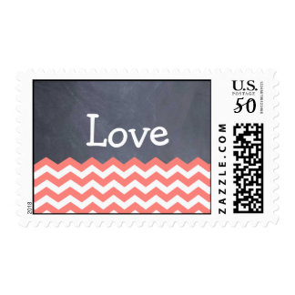 Coral Chevron love Wedding Stamps