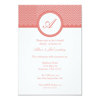Coral Chevron Monogram Bridal Shower Invitation