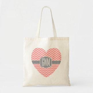 Coral Chevron Monograms Heart Gray Ribbon A06B Tote Bag