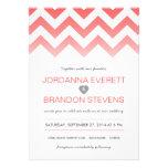Coral Chevron Ombre Wedding Invitations