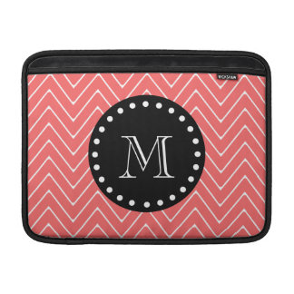 Coral Chevron Pattern | Black Monogram MacBook Air Sleeves