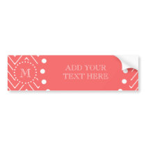 Coral Chevron Pattern | Coral Monogram Bumper Sticker